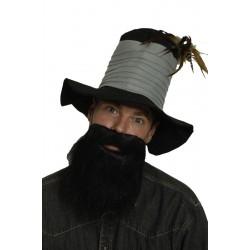 Barbe noire mi-longue avec moustache poil lisse
