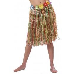 jupe-hawaienne-bleue-franges-plastiques-agrementee-de-petites-fl