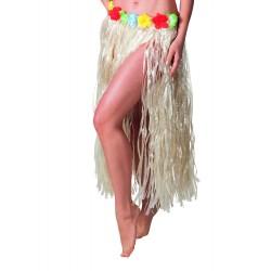 Jupe longue hawaïenne couleur naturelle tour de taille avec petites fleurs