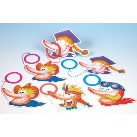 6 bilboquets, petits jeux en carton coloré long nez et anneaux