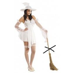 Robe courte de sorcière sexy blanche avec manchettes en tulle