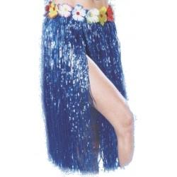 Jupe hawaïenne bleue Franges plastiques agrémentée de petites fleur à la taille