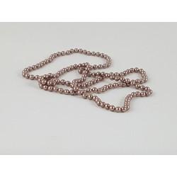 1 collier sautoir en perles de verrre peintes en beige nacré