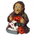 Figurine de Sorcière avec fantôme, citrouilles pour halloween en résine legère