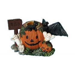 Bougeoir figurine pour halloween 2 citrouilles, 2 fantômes, 1 chat noir, 1 chauve souris et 1 petit crane