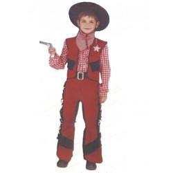 déguisement de cow boy faux cuir marron et noir 4/6 ans