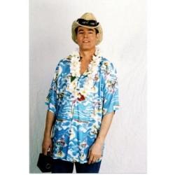 Chemise hawaïenne Tahitienne dans des tons de bleu taille adulte XL