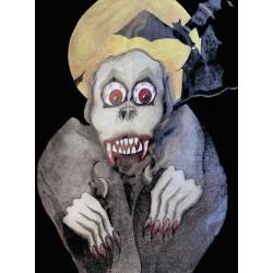 Tee shirt vampire vintage années 1990 horreur gore Halloween signé Krystaal
