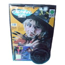 kit d'accessoires de sorcière, chapeau, ongles et nez Halloween