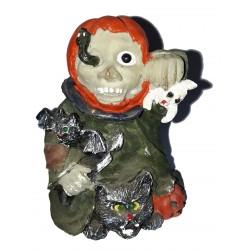Figurine pour Halloween 1 monstre avec 1 chat noir, 1 fantôme, 1 citrouille, il tient un couteau et une chauve souris Halloween