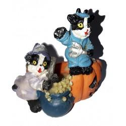 photophore d'halloween deux chats noir et blanc habillés, avec 1 chaudron et 2 citrouilles Halloween