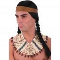 très grand Collier indien perles en bois et faux cuir pectoral