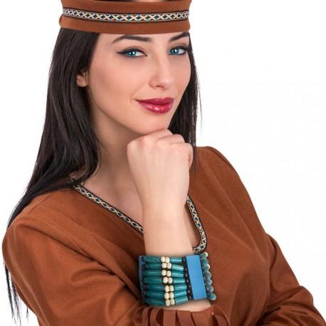 Bracelet indien en perles de bois couleurs bleu turquoise, crème et ebene