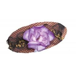 Jarretière en dentelle noire et fil doré avec une jolie fleur parme