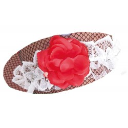 Jarretière en dentelle blanche et fil doré avec une fleur rouge