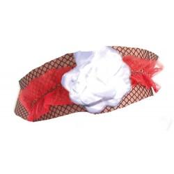 Jarretière en dentelle rouge avec une fleur blanche
