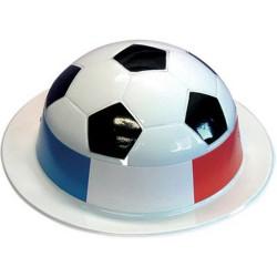 chapeau melon en plastique ballon de foot avec tour drapeau français bleu blanc rouge