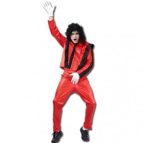 Costume rouge à bandes noires pour être le roi de la pop