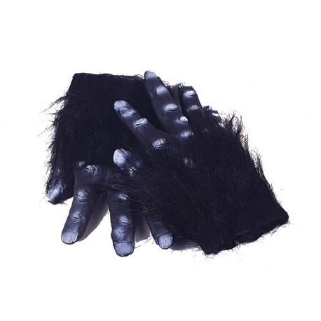 Mains poilues de gorille avec peluche noire doigts en latex