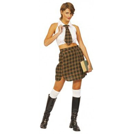 Jeune fille écolière avec cravate déguisement school girl
