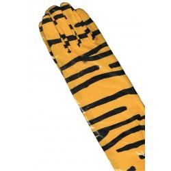 Gants tigrés jaune et noir long 47 centimètres