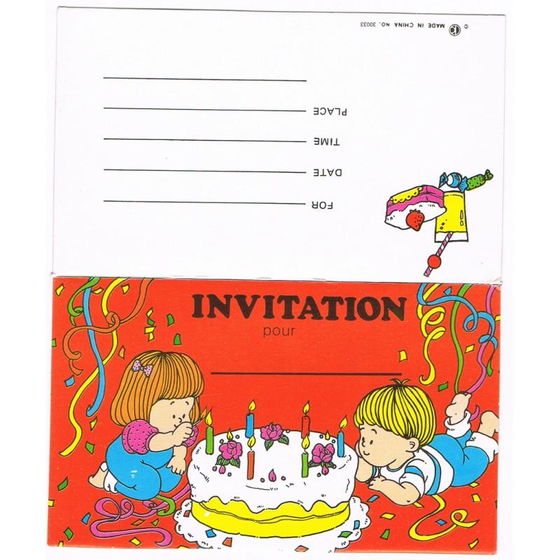 6 carte d'invitations pour anniversaire d'enfants avec enveloppes - Festi Fiesta