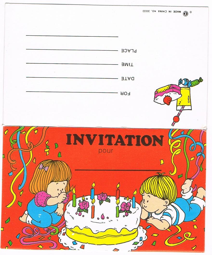 Préférence 6 carte d'invitations pour anniversaire d'enfants avec enveloppes  HD85