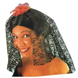 Perruque d'espagnole noire coiffée avec chignon, mantille noire et fleur rouge