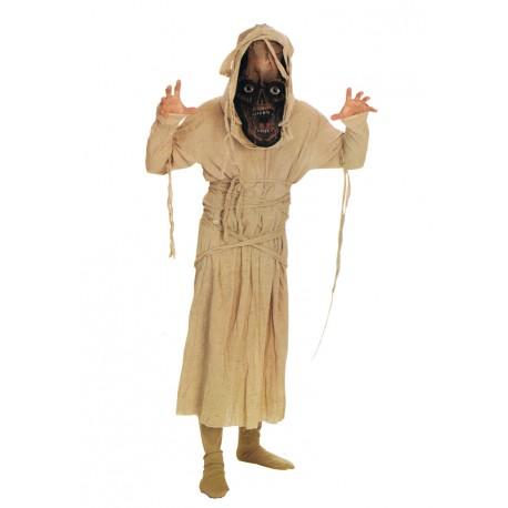 Déguisement de monstre momie avec très grand masque en tissu