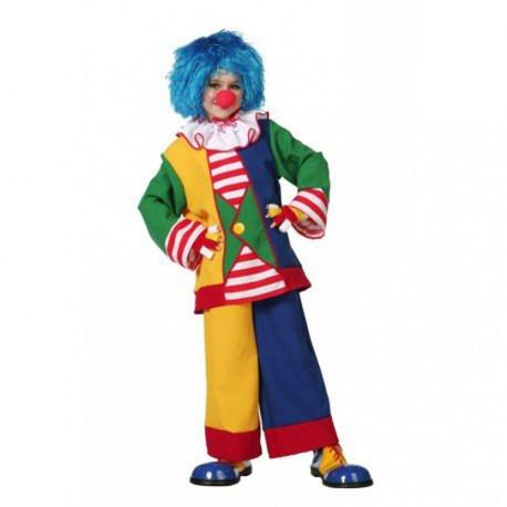 Clown très coloré avec une collerette blanche très belle qualité taille enfant