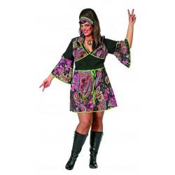 Tunique robe de hippie motifs colorés sur fond noir grande taille