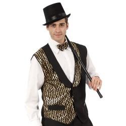 Gilet noir paillettes dorées type cabaret disco taille M/L