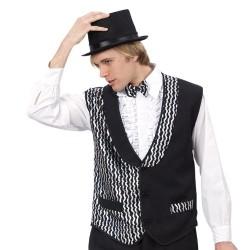 Gilet noir paillettes argentées type cabaret disco taille M/L