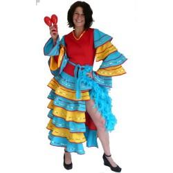 robe de brésilienne pour adulte déguisement de belle qualité jaune bleu rouge