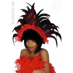 Coiffe de cabaret en plumes rouges et noires