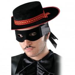Masque Loup Noir en plastique floqué Zorro vengeur masqué