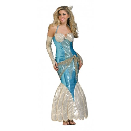 Sirène robe bleue lamé et dorée avec les mitaines