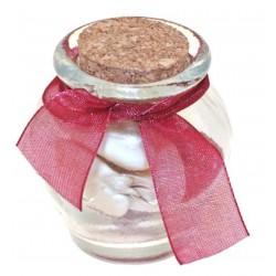 6 petites jarres en verre et bouchon en liège vendues vide, flacons à décorer