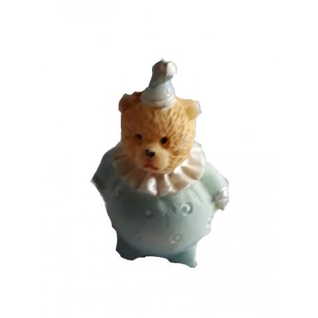 Figurine miniature 1 petit ourson clown bleu 3 centimètres de haut