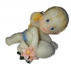 Figurine miniature1 bébé garçon s'amusant avec un cygne