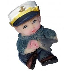 Figurine miniature 1 garçon habillé en marin jouant avec un requin