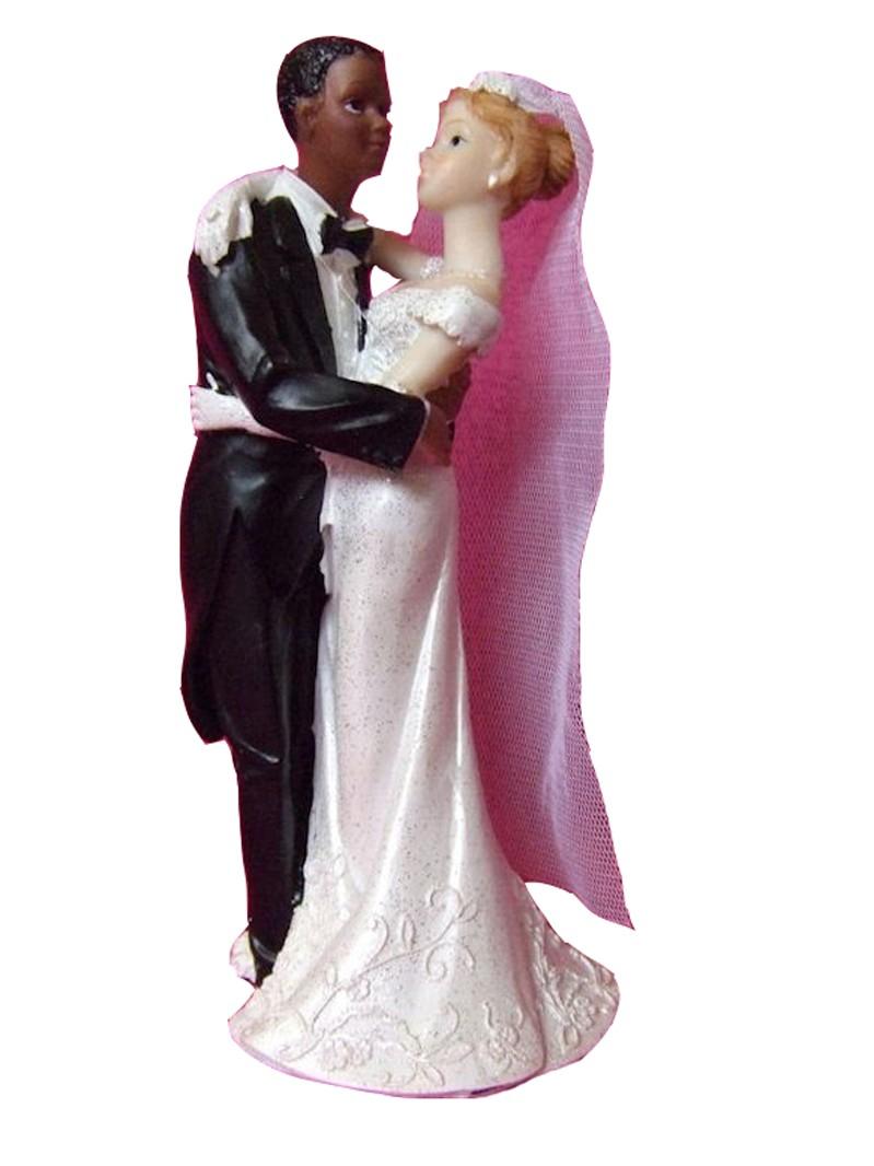 Figurine mariage Couple de mariés mixte homme noir femme blanche , Festi  Fiesta