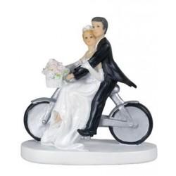 Figurine mariage Couple de mariés à vélo la mariée est à l'avant