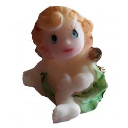 miniature figurine d'ange un angelo avec des ailes dorées et un voile vert