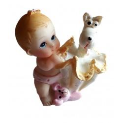 Figurine miniature1 bébé fille avec un parapluie jaune et un chien blanc dedans
