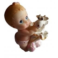Figurine miniature1 bébé fille avec un parapluie jaune et un mouton ou chèvre blanc