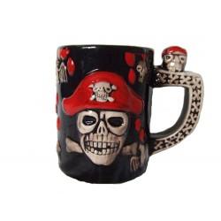 Mug pirate sanglant et toile d'araignée céramique noire avec motif couleurs os et rouge