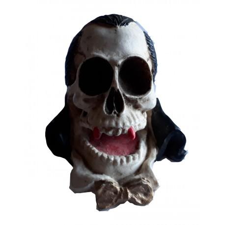 Figurine tête de mort comte Dracula vampire avec noeud papillon