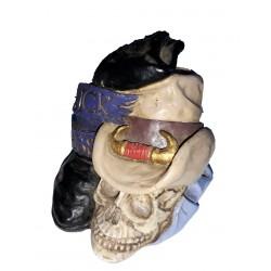 """Figurine tête de mort cow boy avec chapeau et botte """"kick ass"""""""