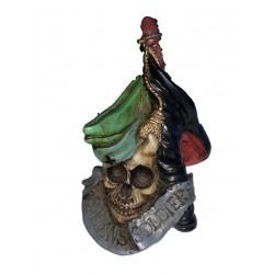 Figurine tête de mort soldat avec kepi et drapeau